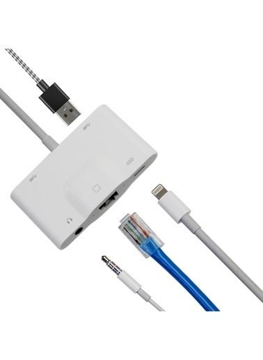 Techmaster Techmaster iPhone RJ45 Ethernet 2 Adet Usb ve Şarj Kulaklık Girişli Adaptör Renkli